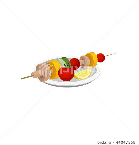 Grilled vegetables, vegan kebab, vegetarian food vector Illustration on a white background 44047559
