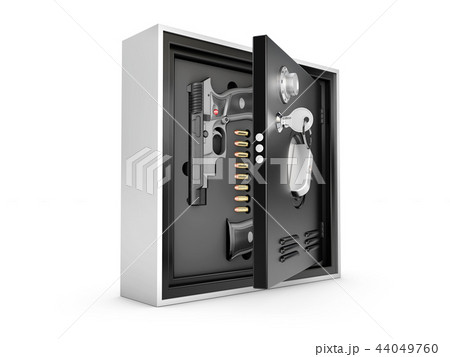 3d Illustration of Armored safes with guns and bullets 44049760