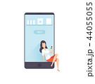 オンライン 女性 スマートフォンのイラスト 44055055