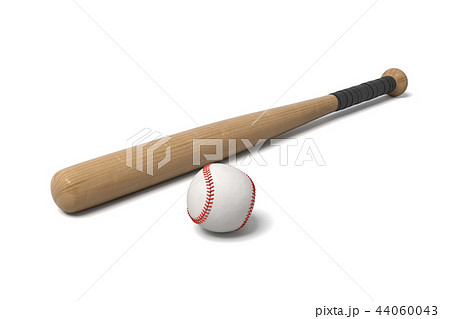 3d rendering of a wooden baseball bat with black wrap on the handle lying near a white leather ball. 44060043