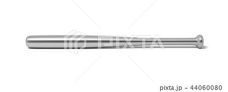 3d rendering of a single metal baseball bat with shining surface isolated on a white background. 44060080