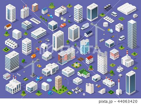 Set of urban flat buildings 44063420