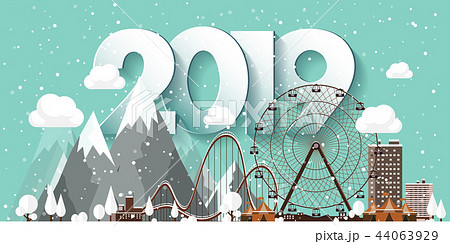 Vector illustration. 2019 winter urban landscape. City with snow. Christmas and new year. Cityscape 44063929