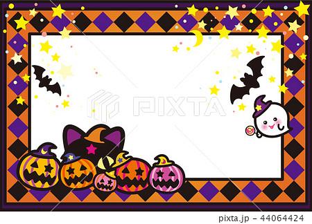 ハロウィン かぼちゃ コウモリ 猫 おばけ ポストカード 44064424