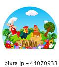 動物 ニワトリ 農場のイラスト 44070933
