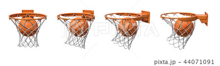 3d rendering of a set made of four basketball baskets with a ball falling inside each of them. 44071091
