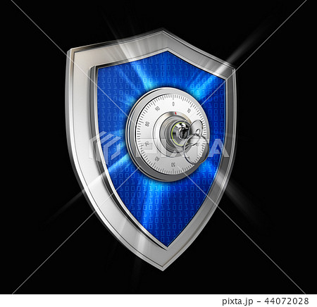 Cyber security concept: Shield With combination lock and rays on black background 44072028