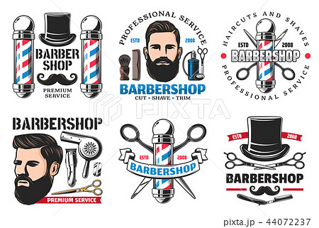 Barber shop signs icons hipster and cutting tools 44072237