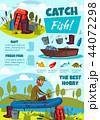 Fishing sport poster with fisherman, equipment 44072298