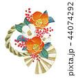 正月飾り 椿 しめ飾り 水彩 イラスト 44074292