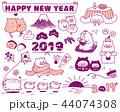 年賀2019 年賀状素材 セットのイラスト 44074308
