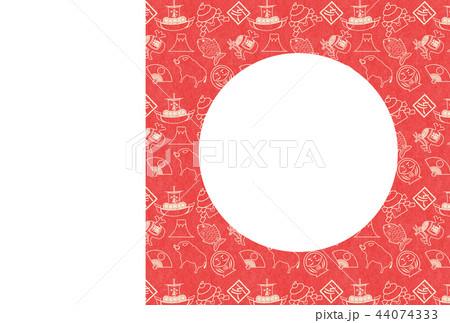 年賀2019縁起物赤和紙亥フレーム 44074333