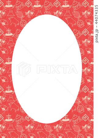 年賀2019縁起物赤和紙亥フレーム 44074335