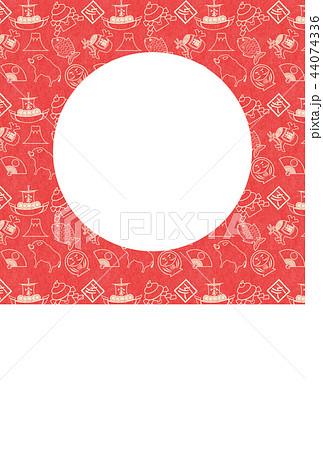 年賀2019縁起物赤和紙亥フレーム 44074336
