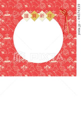 年賀2019縁起物赤和紙亥フレーム 44074339