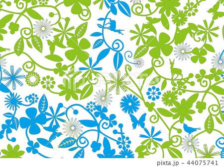 花柄 緑 青 イラスト 模様のイラスト素材 44075741 Pixta