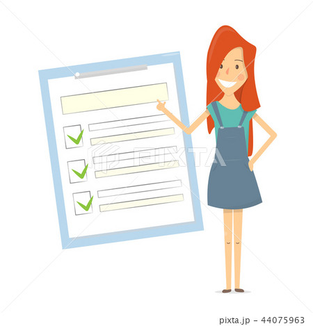 Claim form. Woman shows a document checklist. 44075963