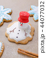 homemade gingerbread like melting snowman on the baking paper 44077032