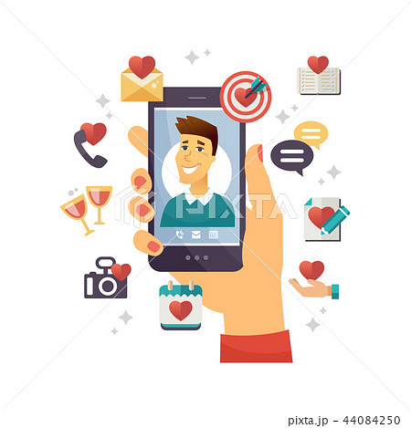 Online dating app - modern vector colorful illustration 44084250