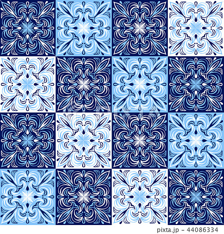 Italian ceramic tile pattern. Ethnic folk ornament. 44086334