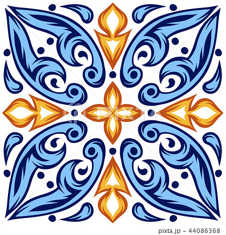 Italian ceramic tile pattern. Ethnic folk ornament. 44086368