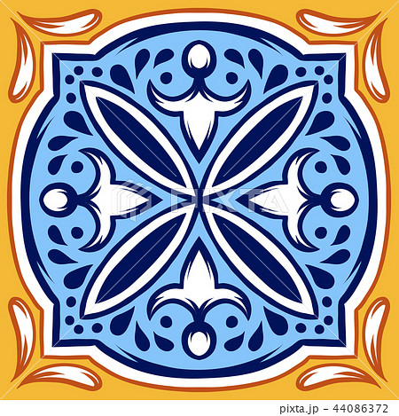 Italian ceramic tile pattern. Ethnic folk ornament. 44086372