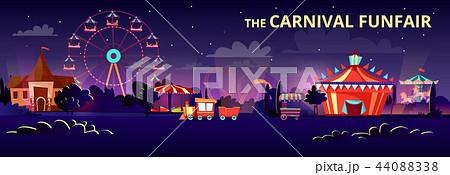Amusement park cartoon illustration of carnival funfair at night with illumination of rides 44088338