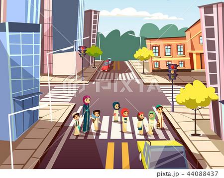 Street pedestrians cartoon illustration of Arab Muslim mother with children crossing road on traffic 44088437