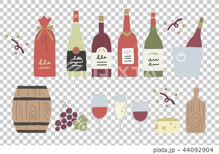 沒有葡萄酒手繪輪廓 44092904