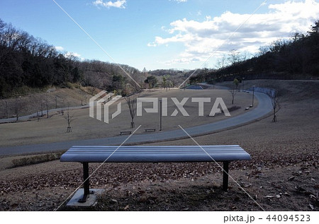 美しい雲と景色、冬の公園のベンチで散歩 44094523