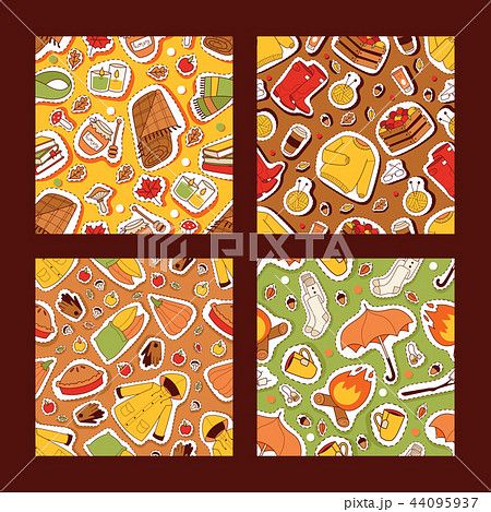Autumn symbols banner items card with clothes related to autumn. Rainy cold time to celebrate Happy 44095937