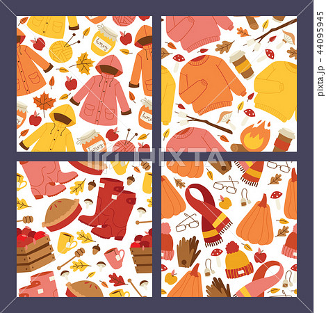 Autumn symbols banner items card with clothes related to autumn. Rainy cold time to celebrate Happy 44095945