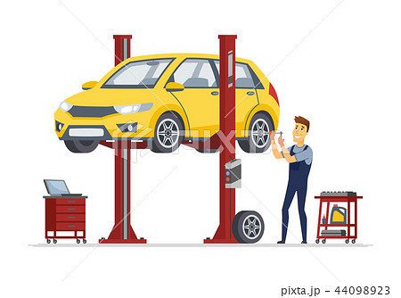 Tire service - modern vector cartoon character illustration 44098923