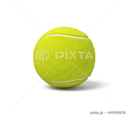 3d rendering of a single acid green tennis ball standing on a white background with a shadow. 44099836