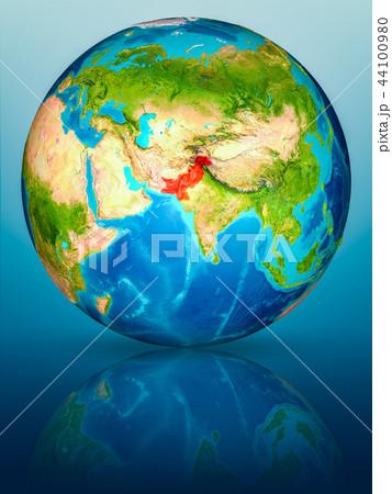 Pakistan on Earth on reflective surface 44100980