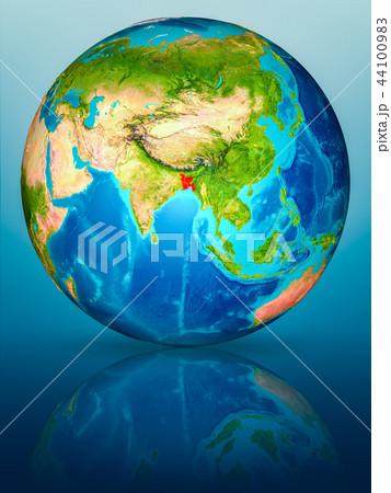 Bangladesh on Earth on reflective surface 44100983