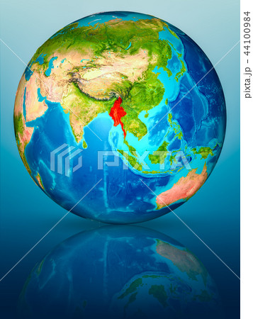 Myanmar on Earth on reflective surface 44100984