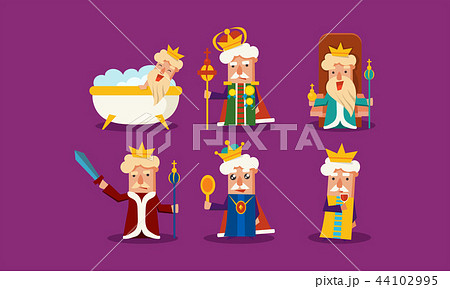 Flat vector set of king in different situations standing with staff and sword, sitting on throne 44102995