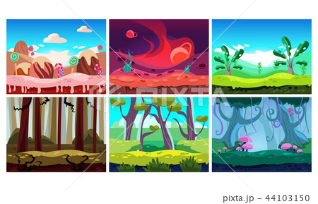 Flat vector set of 6 colorful horizontal backgrounds for mobile or computer game. Sweet land and 44103150