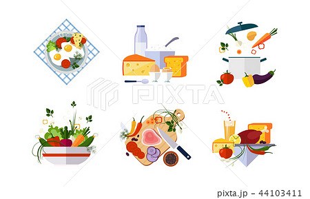 Healthy organic food set, diet menu, dairy, vegetable and meat products vector Illustration on a 44103411