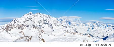 Panoramic image of snow mountains 44105619