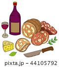 ハムとワインのイラスト 44105792