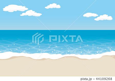 青空と波打ち際の浜辺のイラスト素材 44109268 Pixta