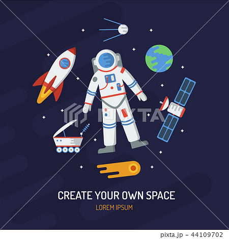 Space flat vector card 44109702