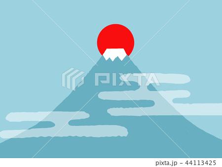 年賀状素材 富士山と日の出3 44113425