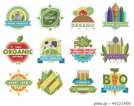 Fresh healthy organic vegan food logo nature product vector icons 44121400