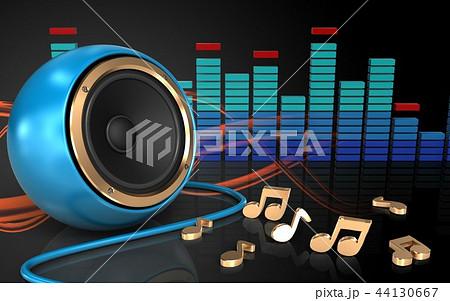 3d illustration of blue sound speaker with notes 44130667
