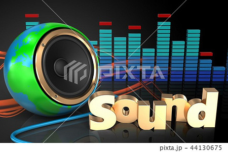 3d illustration of sound speaker with sound sign 44130675