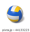 3d rendering of a single three-colored volleyball ball with a shadow lying on a white background. 44133223