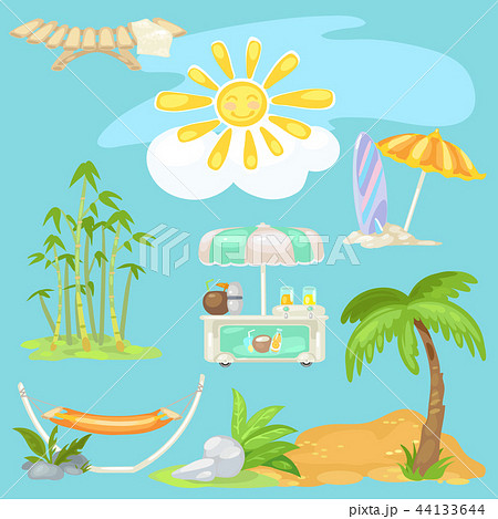 cute poster on theme of travel bright sun on the beach sunbed